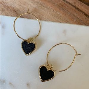 BOGO! Simple Sweet Black Heart Earrings